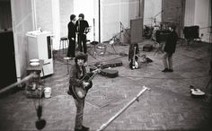 MI Studios, Abbey Road, London. November 3, 1965.. A panoramic view of The Beatles at work in Studio 2 during the recording of 'Michelle' for Rubber Soul.