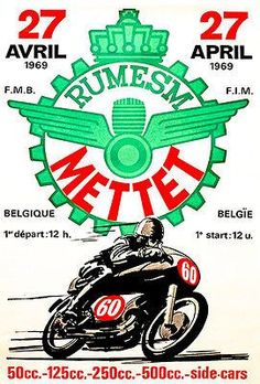 1969 Rumesm Mettet - Belgium - Motorcycle Race - Promotional Advertising Poster
