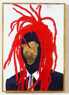 a saint. 65 x 45cm. mud, acrylic on woodcut. 2004