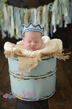 Your little prince should be ready to show up in style with this adorable crocheted crown! This crown is so cute for a newborn pictures, to welcome home your baby, or a fun costume piece. Please speci