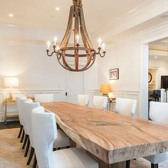 Farm table with traditional style chairs