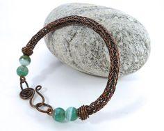 Viking Knit Beaded Bracelet  Brown Viking by BeauBellaJewellery