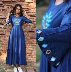 Sleeves Designs For Dresses, Dress Neck Designs, Kurti Neck Designs, Kurti Designs Party Wear, Stylish Dress Designs, Blouse Designs, Kurti Embroidery Design, Embroidery Fashion, Embroidery Dress