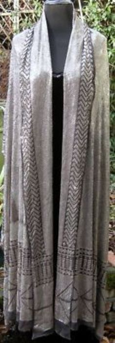 Antique Deco ASSUIT Assiut Silver Embroidery Net Shawl (02/19/2011)