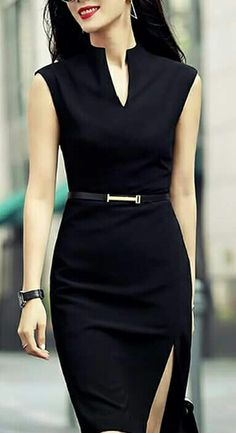 Shop zenpp black slit sheath dress here, find your knee length dresses at dezzal, huge selection and best quality. Cute Dresses, Dresses For Work, Prom Dresses, Casual Dresses, Office Dresses For Women, Tight Dresses, Sexy Dresses, Elegantes Outfit, Professional Outfits