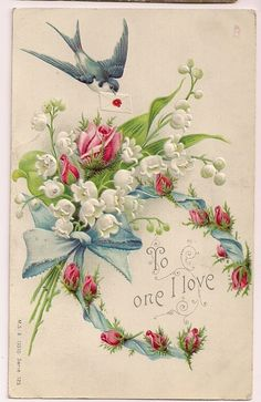 Vintage Victorian lily-of-the-valley and rose bouquet postcard Éphémères Vintage, Images Vintage, Vintage Labels, Vintage Ephemera, Vintage Holiday, Vintage Pictures, Vintage Paper, Vintage Postcards, Vintage Prints