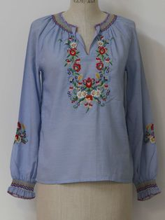 70s embroidered peasant blouse
