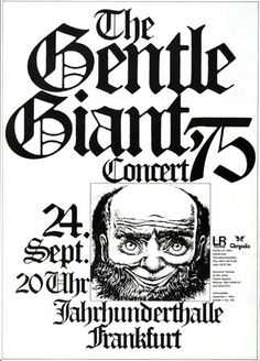 Gentle Giant - Free Hand 1975 - Poster Plakat Konzertposter Rock Posters, Band Posters, Music Posters, Rock N Roll Music, Rock And Roll, Frankfurt, Psychedelic Bands, Rock Cover, Old Advertisements
