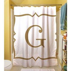 Thumbprintz Gold Script Monogram Shower Curtain