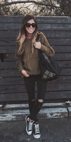 Chocolate brown sweater, black skinny jeans, black converse tennies & shoulder bag