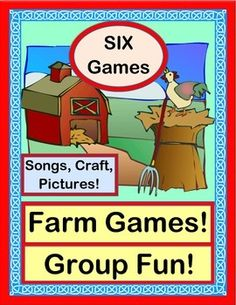 SIX fun GROUP GAMES, SONGS and RHYTHM ACTIVITIES! Horses gallop, food travels from farm to store, chickens wake up the barnyard, and pigs even try to fly! Includes 'TALKING POINTS' for your Farm Theme, FARM PHOTOS, simple SONG DIRECTIONS, and a HORSE CRAFT Template. (15 pages) From Joyful Noises Express TpT! $