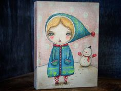This super adorable snowman and his little friend are keeping warm on a cold winter day on one of Danita's mixed media surreal and whimsical paintings.