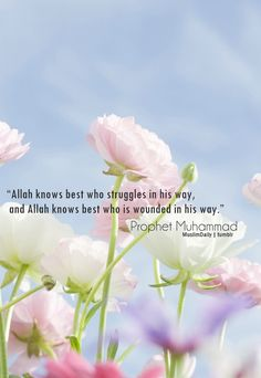 """Abu Huraira reported: The Prophet, peace and blessings be upon him, said, """"Allah knows best who struggles in his way, and Allah knows best who is wounded in his way.""""Source: Sahih Bukhari 2742"""