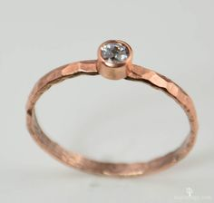 Thin Copper White Spinel Ring Copper Ring Stackable by Alaridesign Diy Jewelry Rings, Copper Jewelry, Women's Rings, Jewellery, Stackable Birthstone Rings, Stackable Rings, Mother Rings, Unique Rings, Ring Designs