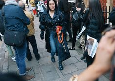Tiffany Hsu in a J.W.Anderson coat and bag Phil Oh's Best Street Style Pics From London's Fall 2017 Shows