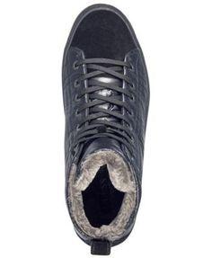 Guess Men's Lars Faux-Fur High-Top Sneakers - Black 10.5