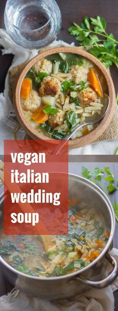 Spinach Soup Chickpea meatballs, tender spinach, fennel, and orzo pasta go into this cozy vegan Italian wedding soup. Vegan Stew, Vegan Soups, Vegan Dishes, Whole Food Recipes, Soup Recipes, Vegetarian Recipes, Healthy Recipes, Tasty Meals, Healthy Food