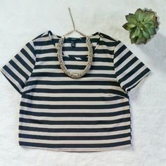 """Forever 21 Beige/Black Striped Crop Top Forever 21 beige black striped crop top. Size small. Pit to pit is 17"""" flat and shoulder to hem is 19"""". New without a tag. Forever 21 Tops Crop Tops"""