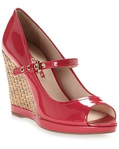Some of you have to get in on this: Prada Patent & Wicker Wedge Sandal