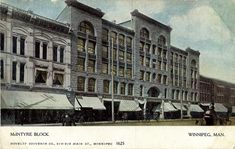 McIntyre Block, ca. 1907  Peel's Prairie Provinces, a digital initiative of the University of Alberta Libraries   Built for developer Alexander McIntyre just before the beginning of the 20th century, the McIntyre Block served as an office space for over 70 years. The building was demolished in 1979 to make way for a parking lot.