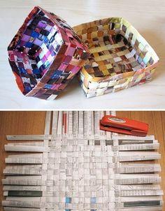 DIY Newspaper Baskets (small storage / organization)