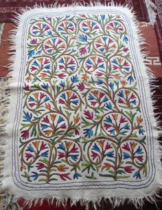 Kashmir Crewel Hand Embroidered Wool Rug Flatweave 6x4 Tree Of Life