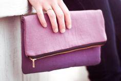 Plum purple ombre foldover clutch by rougeandwhimsy on Etsy, $30.00