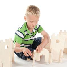 Manzanita Classic Modular Building Set, Wood Walls, modern architectural design for toddlers and children.