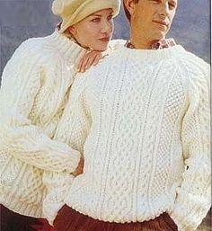 e3b0e37ab PDF Digital Vintage Knitting Pattern Ladies Mens Aran Cable Sweater Jumper  2 Necklines 34-44 £1