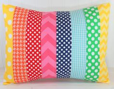 Rainbow Pillow Cover, Rainbow Nursery Decor, Patchwork Pillow,12 x 16 Inches, Playroom Decor, Rainbow, Chevron, Dots and Gingham, Pink, Aqua...
