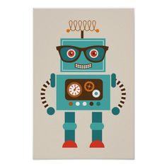 Hipster Robot Number 5 Poster @zazzle #junkydotcom June 30 2016