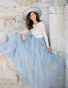 Pantone Serenity inspiration, bridal lookbook, bridesmaid outfit inspiration, tulle skirt, maxi skirt, lace top, Space 46 tulle, Green Wedding Shoes feature