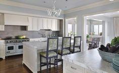 Sutro - LOVE THIS KITCHEN.  Note medium brown floors / light blue paint