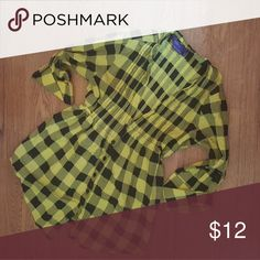 Black and Yellow Plaid Top Plaid top, ties in the back. It says its a size L but it fits more like a M or S ?? Tops Button Down Shirts