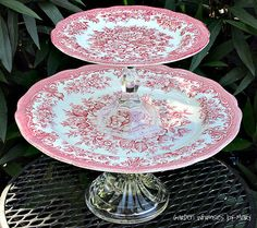 Red and White Toile 2Tier Dessert Pedestal by GardenWhimsiesByMary, $40.00