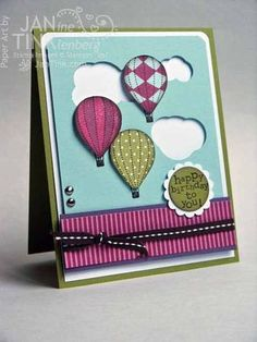 Up, Up and Away Card with circle punch clouds   Janine Tinklenberg, Stamps Paper Scissors
