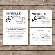 Simple Elegant // Wedding Invitation & RSVP Postcard
