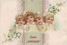 chromo cacao driessen - heads and shoulders views of four small girls with floral spray either side Vintage Labels, Vintage Ephemera, Angels In Heaven, Printable Art, Printables, Victorian Christmas, Victorian Era, Old World, Images