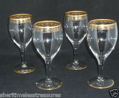 908b60664ea Vintage Wine Glasses Gold Rim Stemware Elegant Glass
