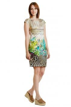 Kauze-Kleid bedrucktes Sommerkleid mit Dschungelmotiv von MODEE