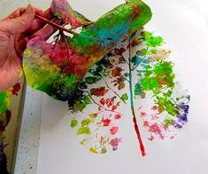 leaf prints with rainbow paint!!