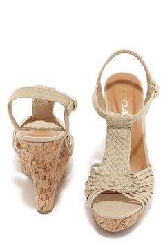 If you're into the intricate, then slip into a pair of the Weave-ning Time Taupe Woven Wedge Sandals! Soft fabric straps weave into a wonderful peep toe upper. Taupe Sandals, Nude Wedges, Thing 1, Vegan Friendly, T Strap, Soft Fabrics, Wedge Sandals, Peep Toe, Weaving