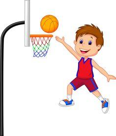 打篮球的卡通男孩
