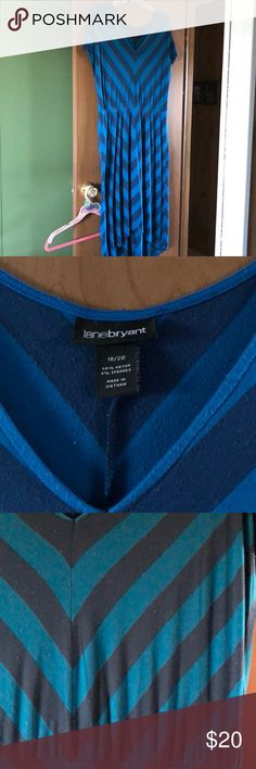Lane Bryant Blue Striped High-Low Dress Jersey knit dress. Super comfy but very stylish Lane Bryant high-low dress. Lane Bryant Dresses High Low