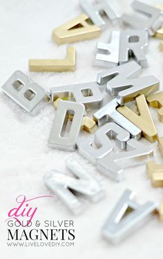 DIY Gold and Silver Magnets! Love this idea.just spray paint cheap plastic alphabet magnets! Click through for spray paint suggestions. Imagining the silver on a stainless fridge.quite a sophisticated upgrade from primary colors. Diy Projects To Try, Crafts To Make, Home Crafts, Fun Crafts, Craft Projects, Crafts For Kids, Craft Ideas, Alphabet Magnets, Magnetic Letters