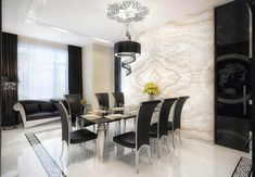 dining room table | Marble black glass dining room table and chair. Wow. Not sure about the black drapes.