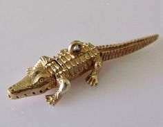 Gold Crocodile Moving Charm or Pendant by TrueVintageCharms on Etsy