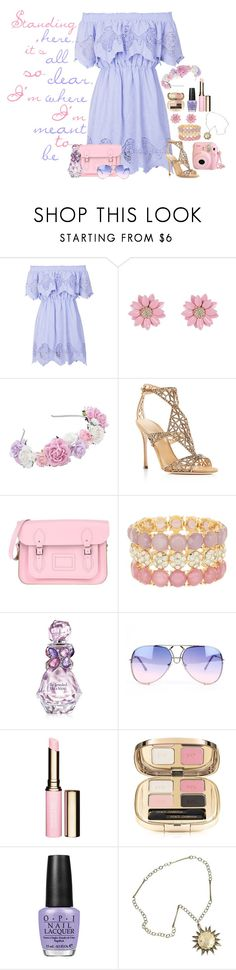 """""""Rapunzel in the Spring"""" by rebecca41622 ❤ liked on Polyvore featuring Topshop, Sergio Rossi, The Cambridge Satchel Company, Natasha Accessories, Vera Wang, Clarins, Dolce&Gabbana and OPI"""