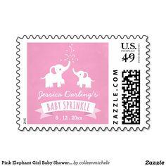 Pink Elephant Girl Baby Shower Custom Postage