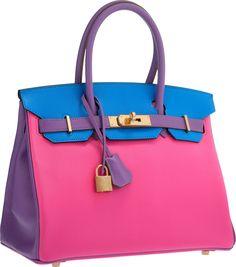 Hermès Special Order Horseshoe 30cm Rose Tyrien, Blue Hydra & Parme Chevre Leather Birkin Bag with Gold Hardware.
